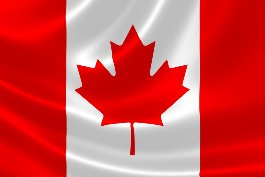 3D rendition of the flag of Canada on satin texture.